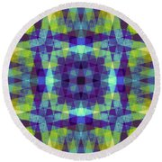 Purple And Green With Wood Patterns Round Beach Towel