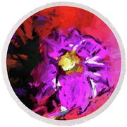 Purple And Yellow Flower And The Red Wall Round Beach Towel