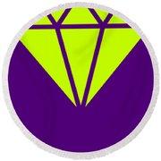 Purple Diamond Yellow Round Beach Towel