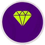 Purple Diamond Yellow Round Beach Towel