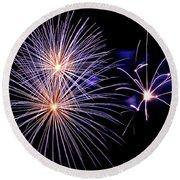 Purple Fireworks Round Beach Towel