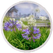 Purple Flowers In San Diego Round Beach Towel