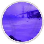 Purple Golden Gate Fog Round Beach Towel