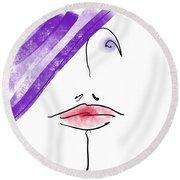 Purple Hat Round Beach Towel