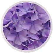 Round Beach Towel featuring the digital art Purple Hydrangea  by Cindy Greenstein
