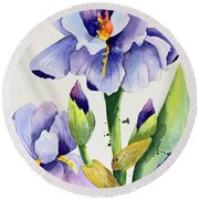 Purple Iris And Buds Round Beach Towel