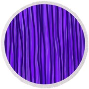 Purple Lines Round Beach Towel