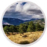 Purple Mountains Round Beach Towel