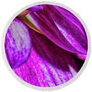 Purple Petals Round Beach Towel