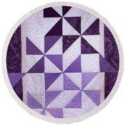Purple Pinwheels Pirouetting Round Beach Towel