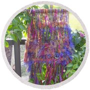 Purple Weaving Round Beach Towel