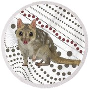 Q Is For Quoll Round Beach Towel