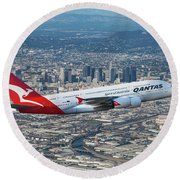 Qantas Airbus A380 Over Los Angeles Round Beach Towel