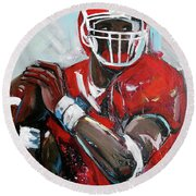 Quarterback Round Beach Towel