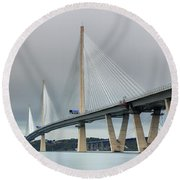 Round Beach Towel featuring the photograph Queensferry Crossing Bridge 3-1 by Grant Glendinning
