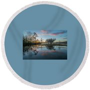 Quiet River Sunset Round Beach Towel