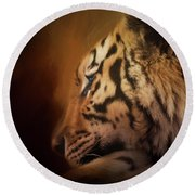 Round Beach Towel featuring the painting Quiet Time - Wildlife Art by Jordan Blackstone