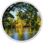 Round Beach Towel featuring the photograph Quite Idaho Evening On The Boise River by Jon Burch Photography