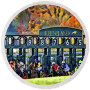 Fall Racing At Keeneland  Round Beach Towel