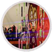 Radio City Reflection Round Beach Towel