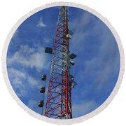 Round Beach Towel featuring the photograph Radio Tower On Mount Greylock by Raymond Salani III