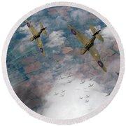 Raf Spitfires Swoop On Heinkels In Battle Of Britain Round Beach Towel