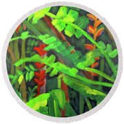 Round Beach Towel featuring the painting Rain Forest Memories by Linda Feinberg