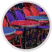 Rain On Paris Tables Round Beach Towel