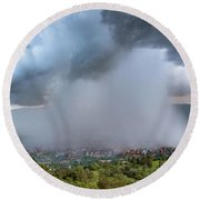 Rain Storm Over Medellin Round Beach Towel