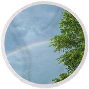 Rainbow And A Tree Round Beach Towel
