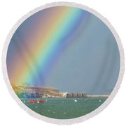 Rainbow At Spring Point Ledge Round Beach Towel