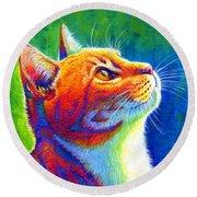 Rainbow Cat Portrait Round Beach Towel