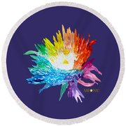 Rainbow Chrysanthemum Round Beach Towel