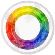Rainbow Color Wheel Round Beach Towel