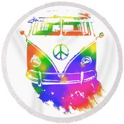 Rainbow Colored Peace Bus Round Beach Towel