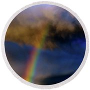 Rainbow During Sunset Round Beach Towel