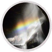Rainbow In Broken Rock Falls Round Beach Towel