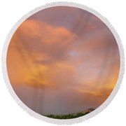 Rainbow In Nz Sky Round Beach Towel