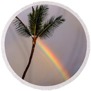 Rainbow Just Before Sunset Round Beach Towel