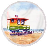 Round Beach Towel featuring the painting Rainbow Lifeguard Tower by Carlin Blahnik CarlinArtWatercolor