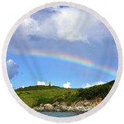 Rainbow Over Buck Island Lighthouse Round Beach Towel