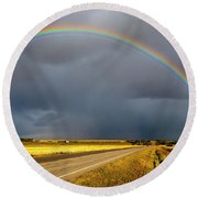 Rainbow Over Crop Land Round Beach Towel