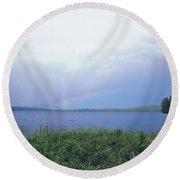 Rainbow Over Raquette Lake Round Beach Towel