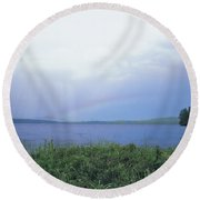 Rainbow Over Raquette Lake Round Beach Towel