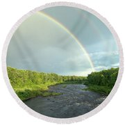 Rainbow Over The Littlefork River Round Beach Towel