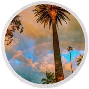 Rainbow Over The Palms Round Beach Towel