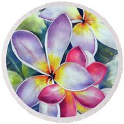 Rainbow Plumerias Round Beach Towel