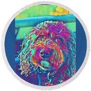 Round Beach Towel featuring the digital art Rainbow Pup by Cindy Greenstein
