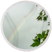 Rainbow With Leaves In Foreground Round Beach Towel