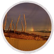 Rainy Day Dunes Round Beach Towel